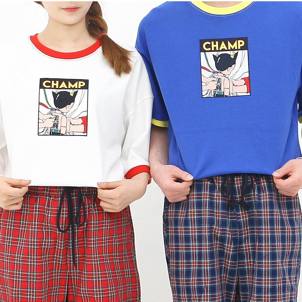 [ 超 ]韓國ulzzang 原子小金剛卡通印花撞色純棉短袖情侶T 恤(共三色)