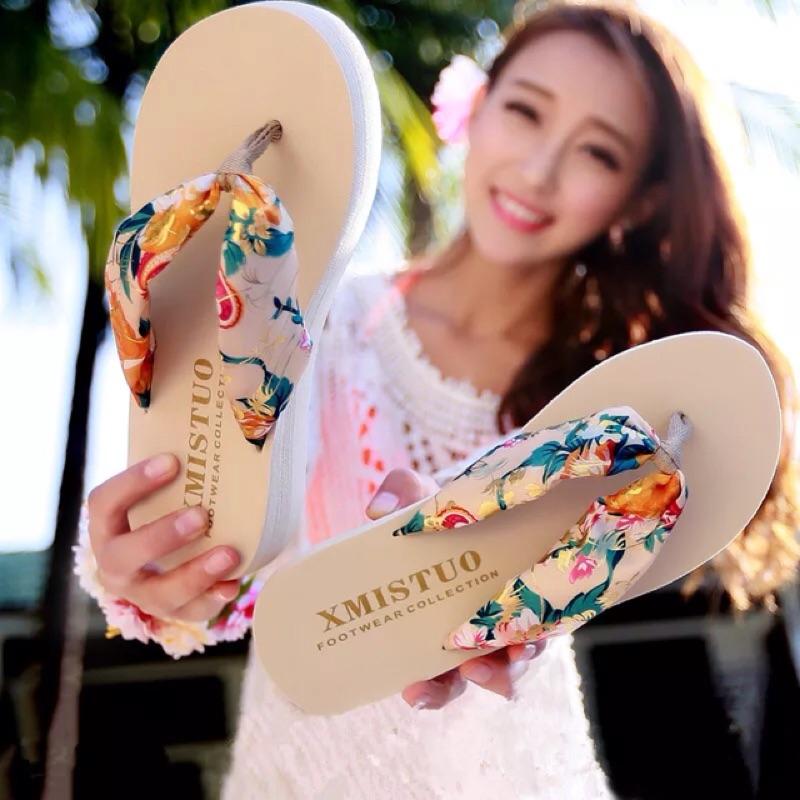 綢緞夾腳人字拖(有大碼)防滑厚底簡約度假沙灘凉拖鞋