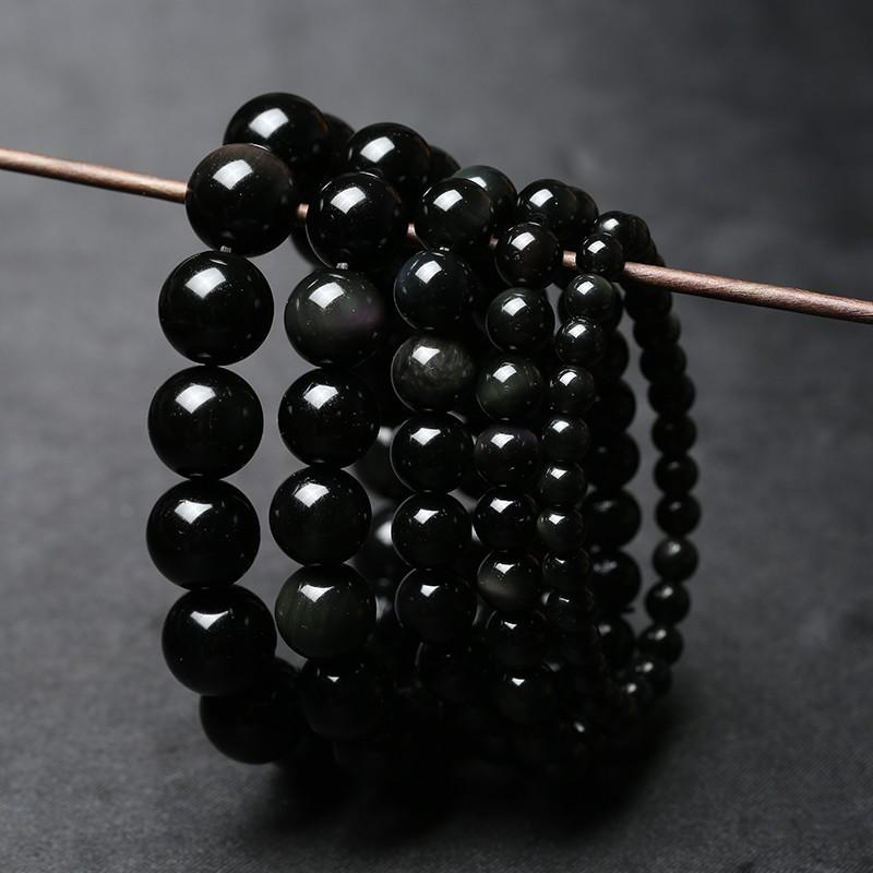 晶檔天然水晶黑曜石手鏈男女通款轉運飾品生日 佛珠手串