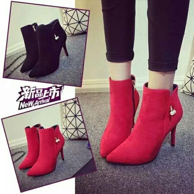 春夏 歐洲站靴子絨面細跟短靴踝靴女高跟鞋珍珠拼接尖頭裸靴
