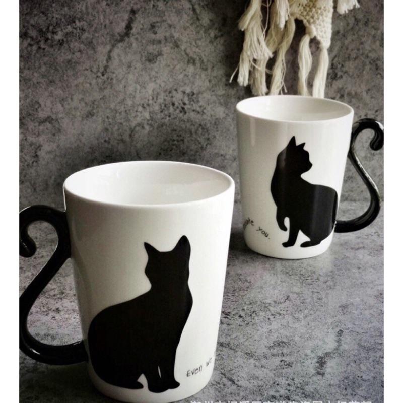 貓尾巴的幸福貓奴 外銷黑貓情侶對杯馬克杯閨蜜送禮自用兩相宜( )