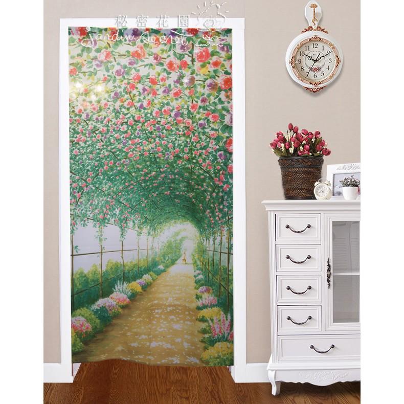 門簾窗簾秘密花園 館浪漫花間漫步門簾一片式風水簾85 170cm n
