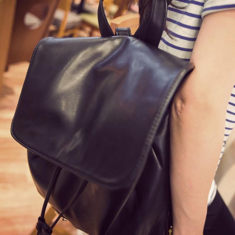 雙肩包女生 潮背包英倫復古學院風學生書包PU 皮單肩雙肩女生包肩背包側背包後背包皮革後背包