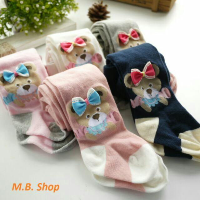 NEW 立體蝴蝶結小熊棉質寶寶褲襪
