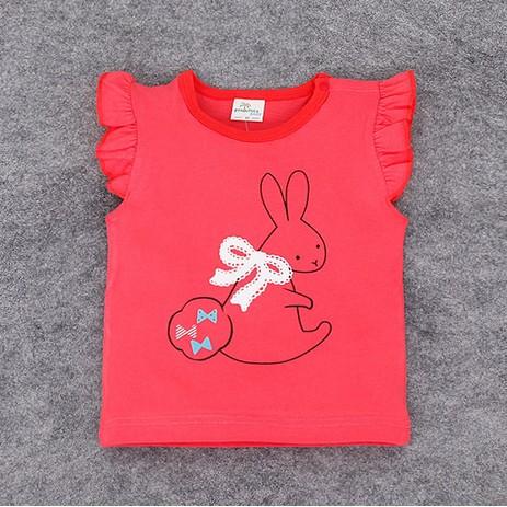 ~ ~ 兔子背心寶寶休閒純棉卡通無袖花邊T 上衣