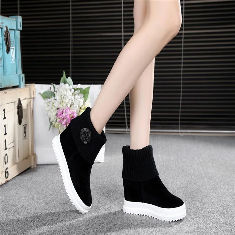磨砂內增高短靴女春秋天 2016 馬丁鞋女靴中長靴子破跟34 碼