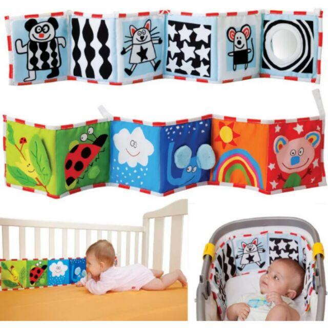 TAF TOYS 寶寶人物立體黑白彩色牀圍3D 彩色黑白雙面嬰兒布書兩用安全鏡