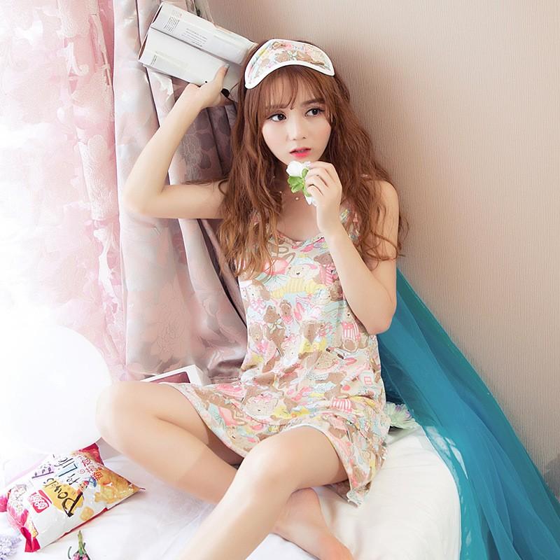 吊帶睡裙少女卡通宽松睡衣加大碼無袖家居服牛奶絲甜美舒適送眼罩Z1029