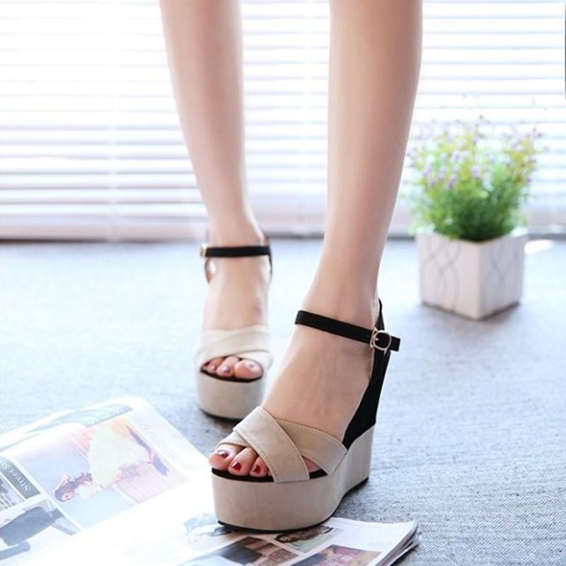 優雅魚嘴OL 厚底鞋楔形鞋防水台超高跟坡跟女鞋涼鞋米黃粉