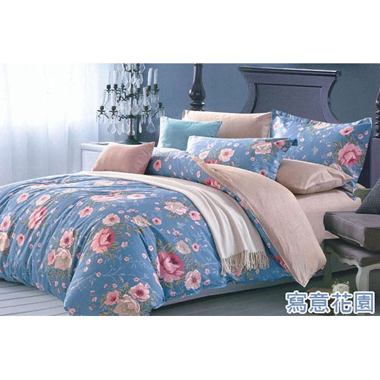 ~寫意花園~100 精梳純棉雙人加大薄床包薄被套鋪棉床包鋪棉兩用被