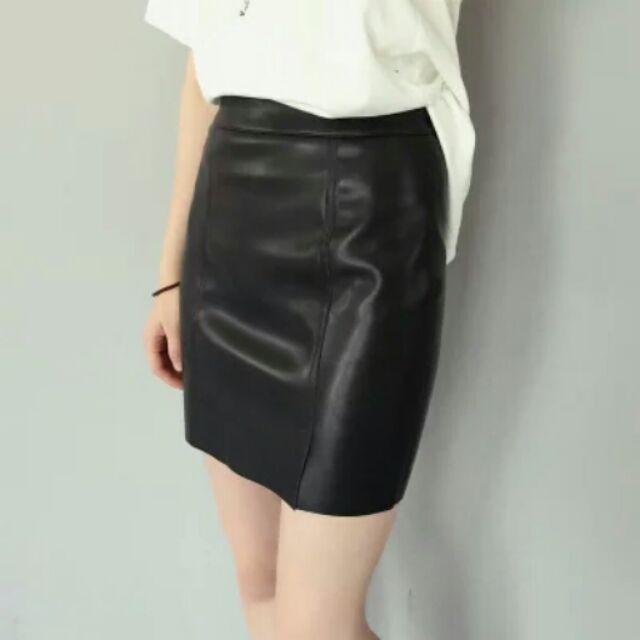 皮革高腰開叉包臀裙短裙窄裙迷你裙半身裙