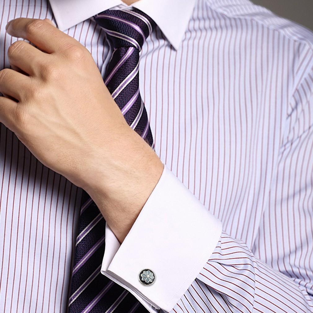 男士襯衫正式花圓形藍色袖扣