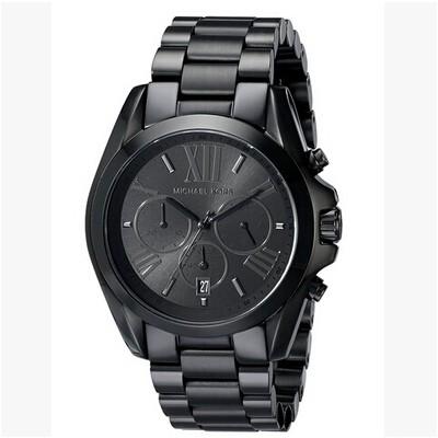 正品 MICHAEL KORS MK 手錶黑色不鏽鋼帶男女三眼計時防水日曆腕錶MK5550