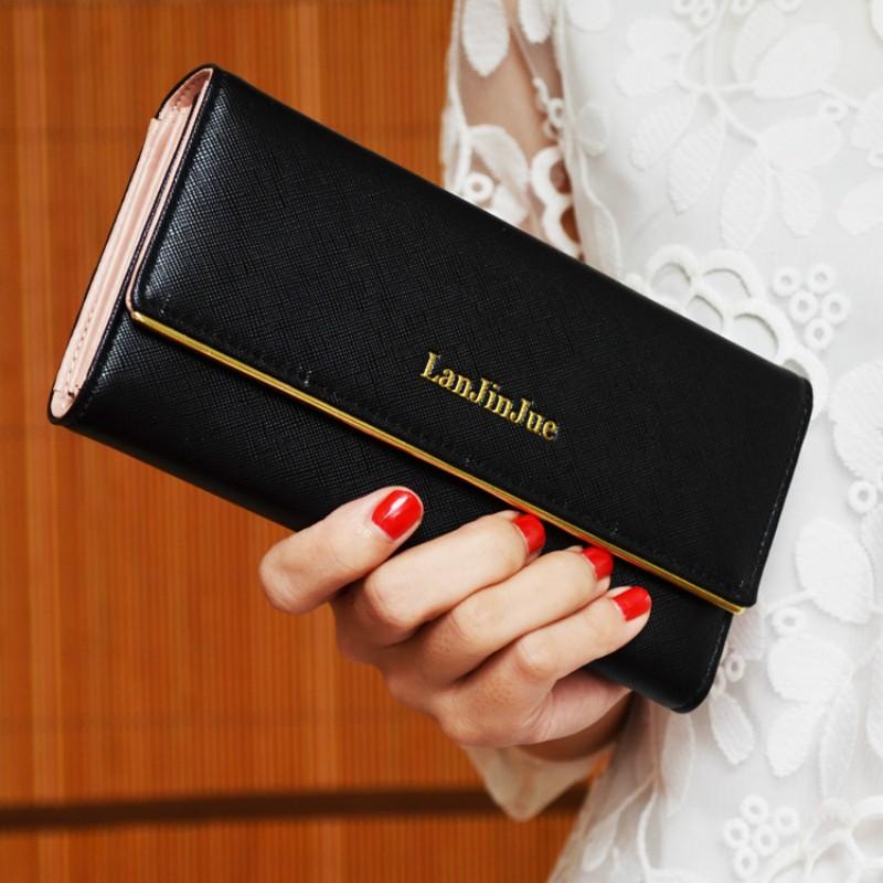 簡約爆款女士長款錢夾 三折女式皮夾手拿包 長夾錢包