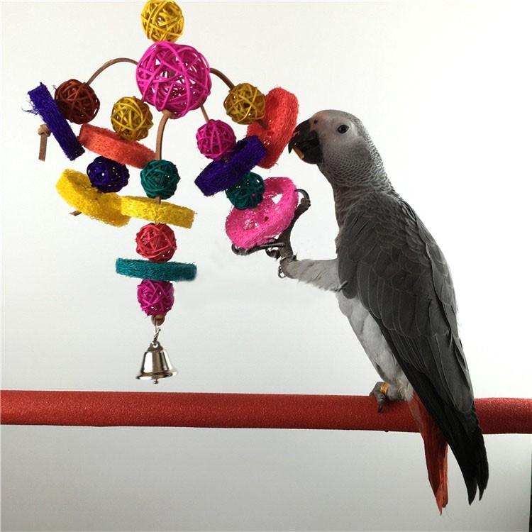 中大型鸚鵡玩具純天然絲瓜絡皮繩藤球人形串啃咬玩具