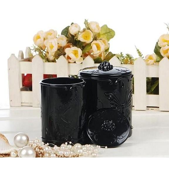 奢華 薔薇蝴蝶雙筒帶蓋收納盒刷具筒安娜蘇風格雙桶收納盒化妝棉盒