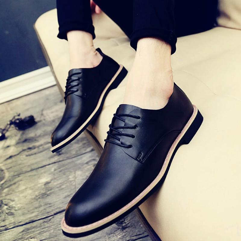 英倫風 皮鞋正裝男鞋子青年軟底透氣商務系帶男士增高潮鞋