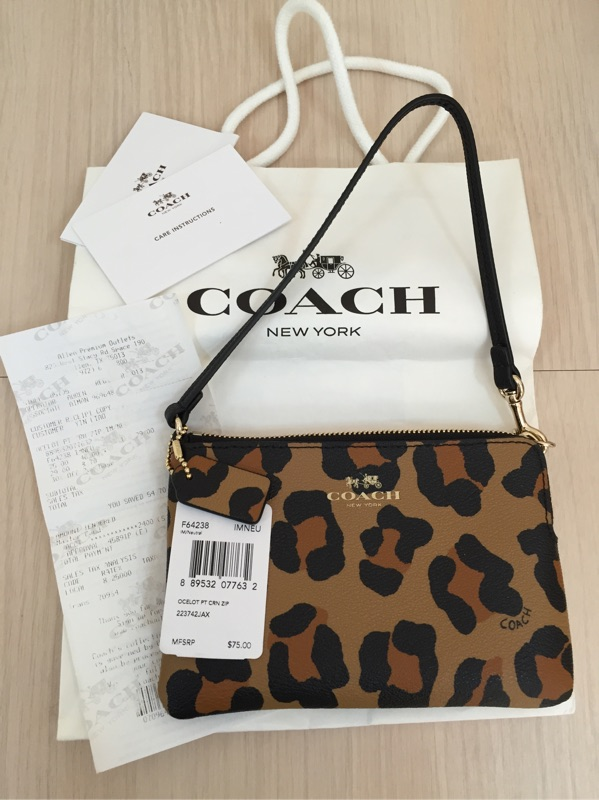 COACH 燙金馬車LOGO 豹紋防刮皮革L 型拉鍊手拿包