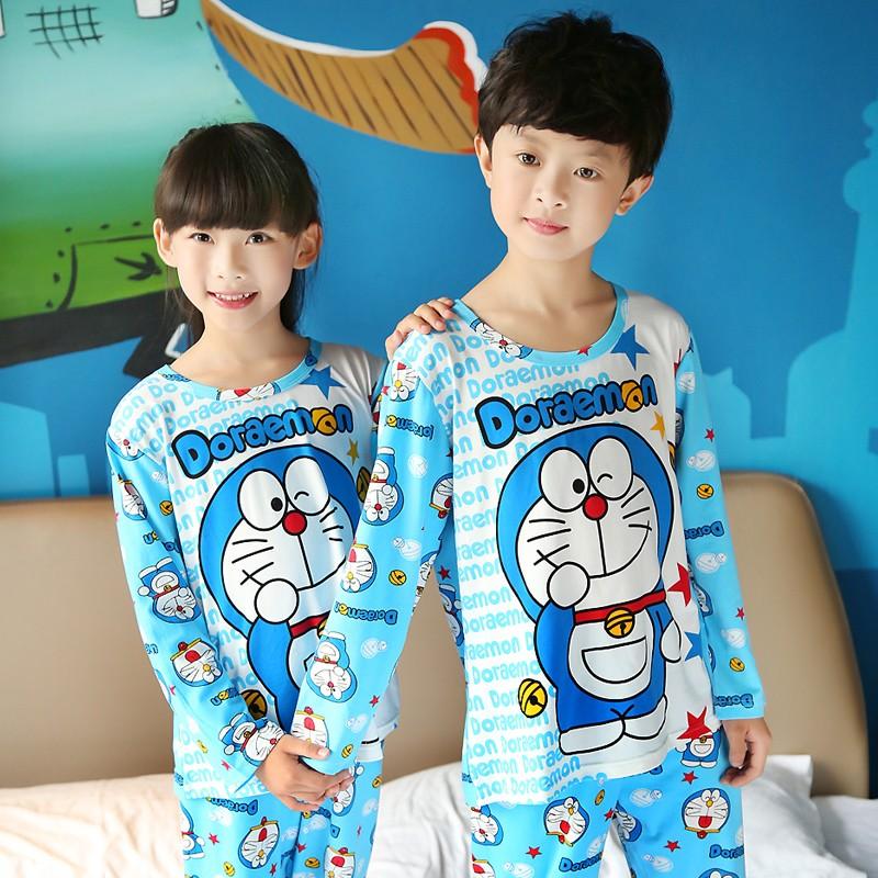 兒童睡衣男孩女童春 純棉長袖寶寶中大童卡通叮當貓套裝家居服