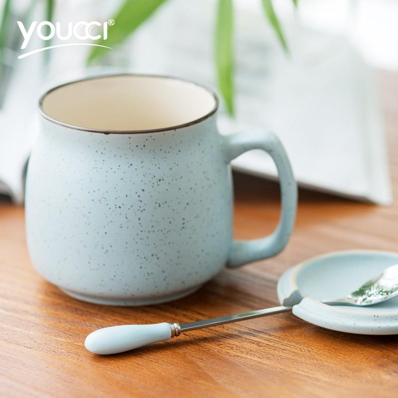 ~ 秒發~可愛芝麻點陶瓷杯子簡約奶茶牛奶杯馬克杯水杯帶蓋勺