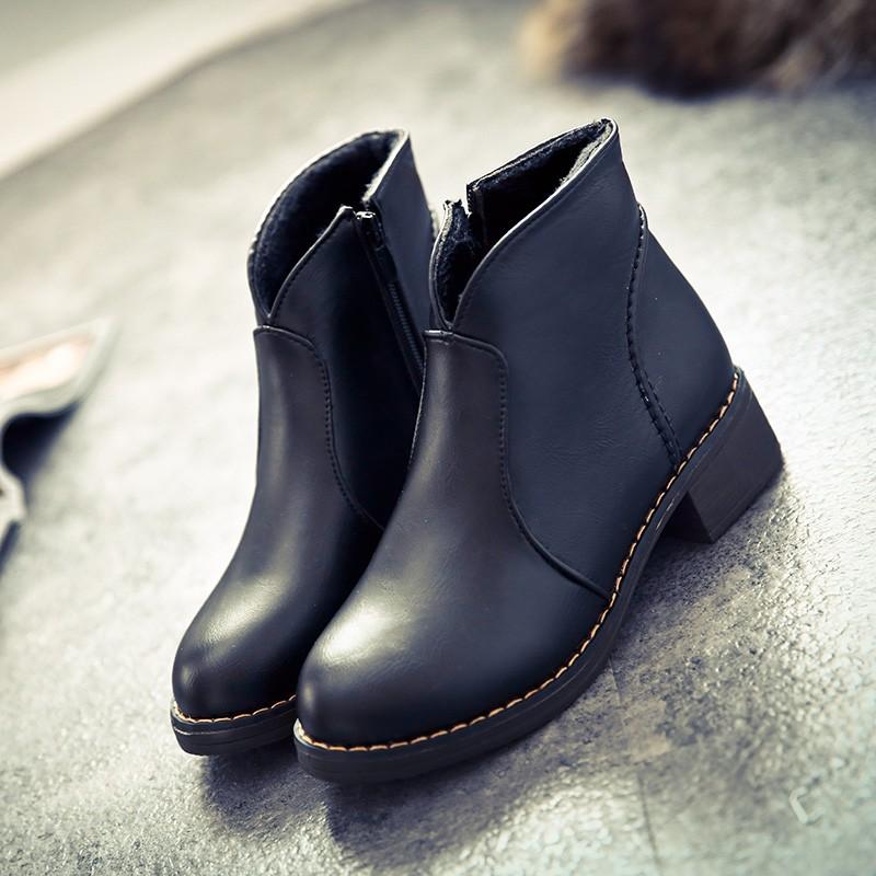 2016 秋 短靴女中跟粗跟圓頭馬丁靴女厚底 英倫女靴子女鞋潮