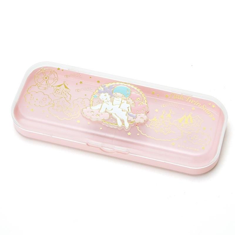 ~可愛通販~三麗鷗Little Twin Stars 雙子星單層塑膠鉛筆盒置物盒~透明粉‧