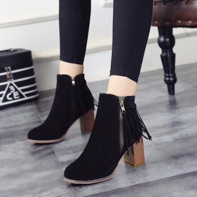 天天 秋 粗跟流蘇短靴側拉鍊磨砂皮高跟圓頭及踝靴復古女靴