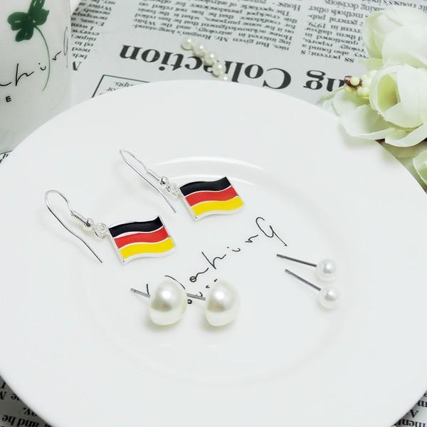 KIYONE 飾品E59 超划算系列 德國國旗珍珠水鑽耳環耳環耳鈎非純銀 任一 150 元