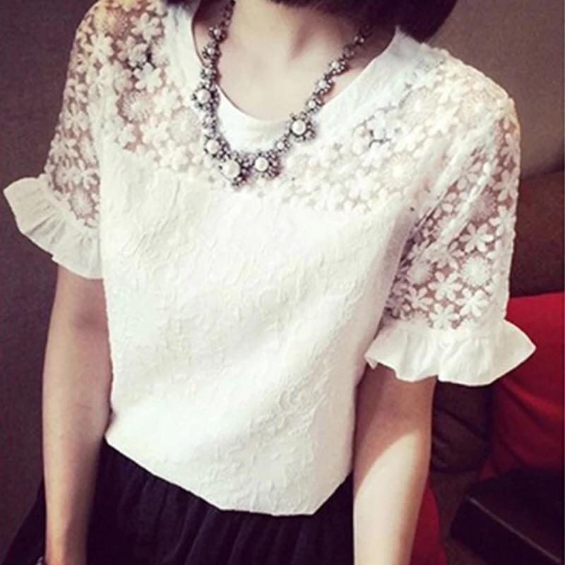 2016 甜美縷空荷葉邊短袖蕾絲衫女裝白色雪紡短袖上衣T 恤女