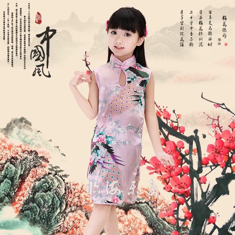 兒童紡絲單孔立領旗袍 演出服兒童唐裝女童公主裙