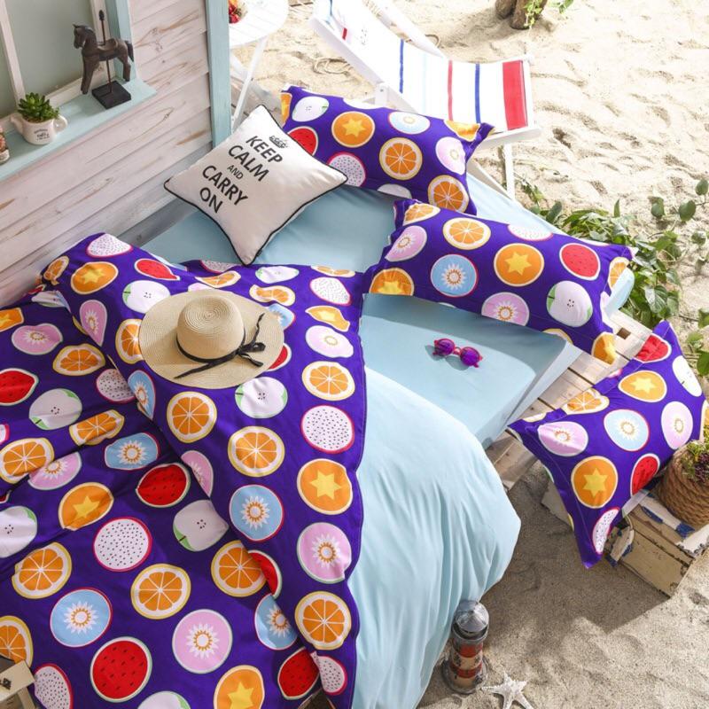 清涼夏日繽紛水果款北歐清新 系列床包四件組單人雙人雙人加大雙人特大 7 14 個工作天AB