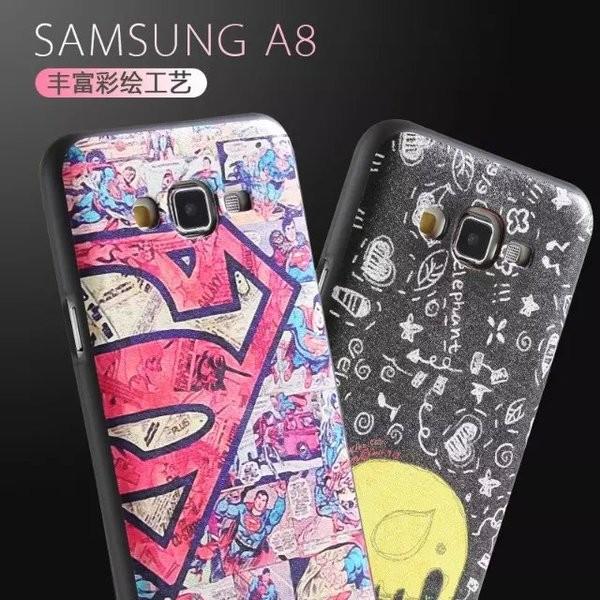 三星A8 手機殼蠶絲紋彩繪galaxy A8000 全包防摔保護套卡通矽膠套軟