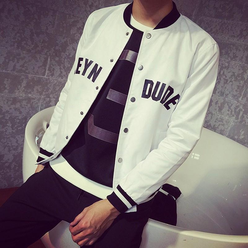 日系修身印花夾克男 棒球衫立領夾克衫大碼男裝 外套潮