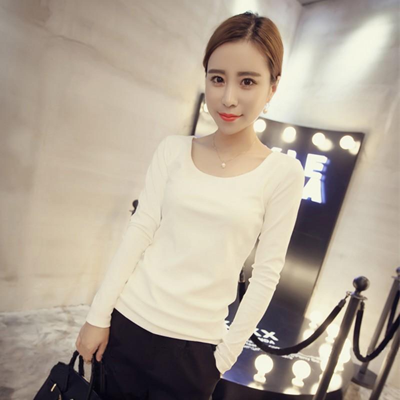 白色長袖t 恤春秋純色修身打底衫女長袖百搭 女士上衣圓領體恤