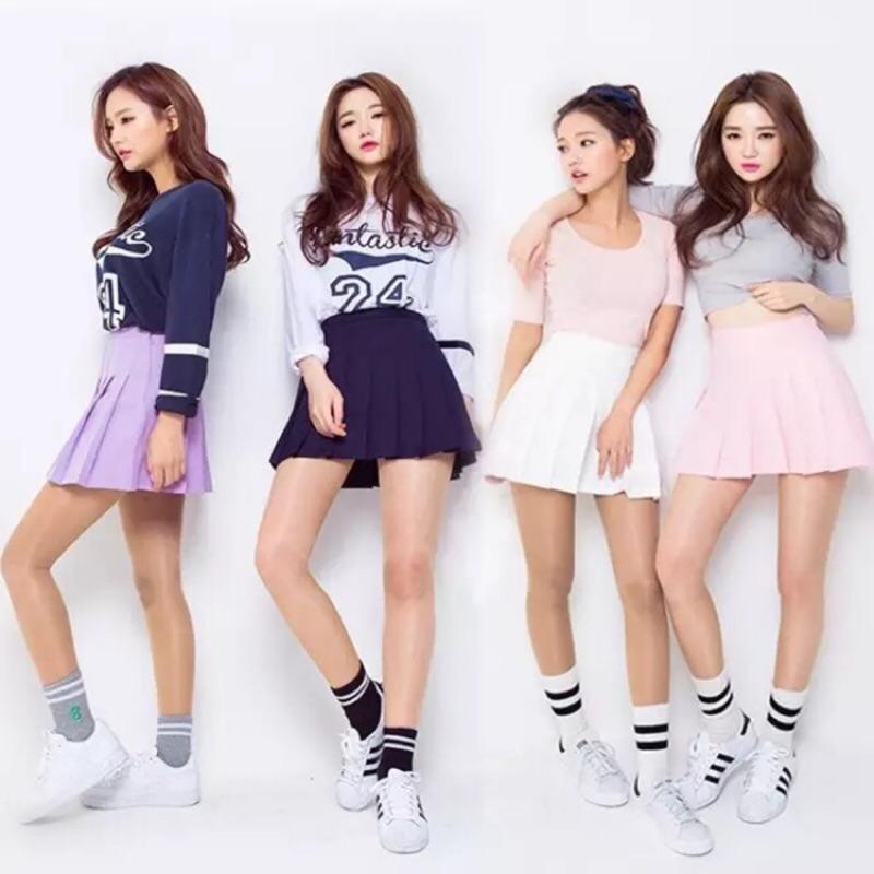 韓國東大門高腰顯瘦百褶裙傘褲裙網球褲裙減齡穿搭青春洋溢
