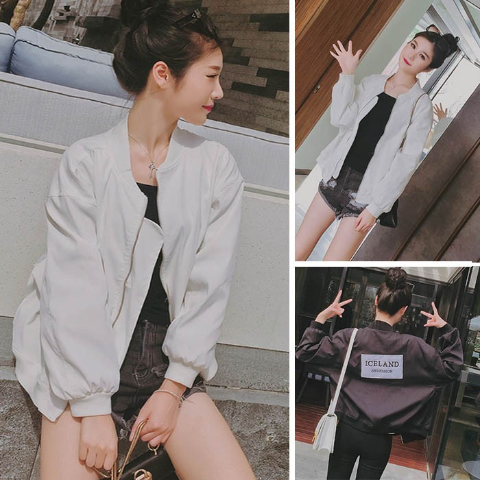 ~MiYg ~ 秋裝 女裝 字母貼佈棒球服女百搭寬鬆休閒開衫短外套上衣潮