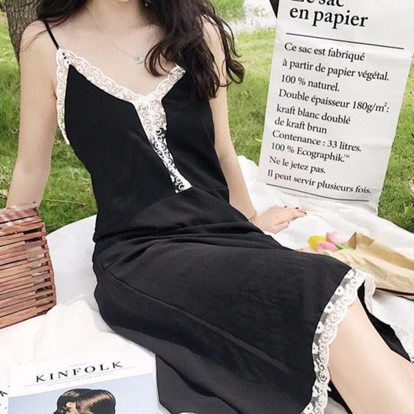 小性感女神范白色花邊吊帶度假風長裙連衣裙睡裙款