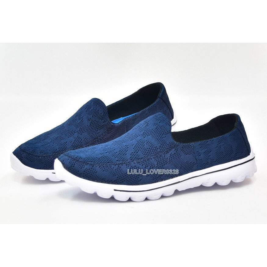 百分百SHOES 男款回彈記憶鞋墊輕量透氣健走鞋 鞋 網狀鳥巢鞋 比SNXIL 一半藍色少