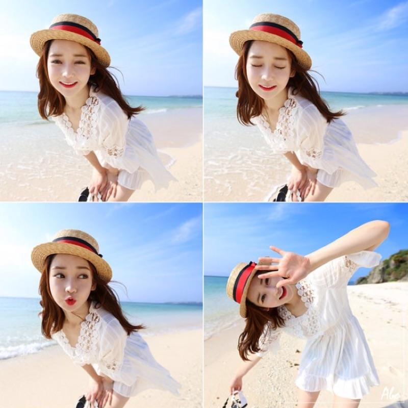 韓國夏裝蕾絲娃娃裝海邊度假沙灘短裙 V 領收腰洋裝