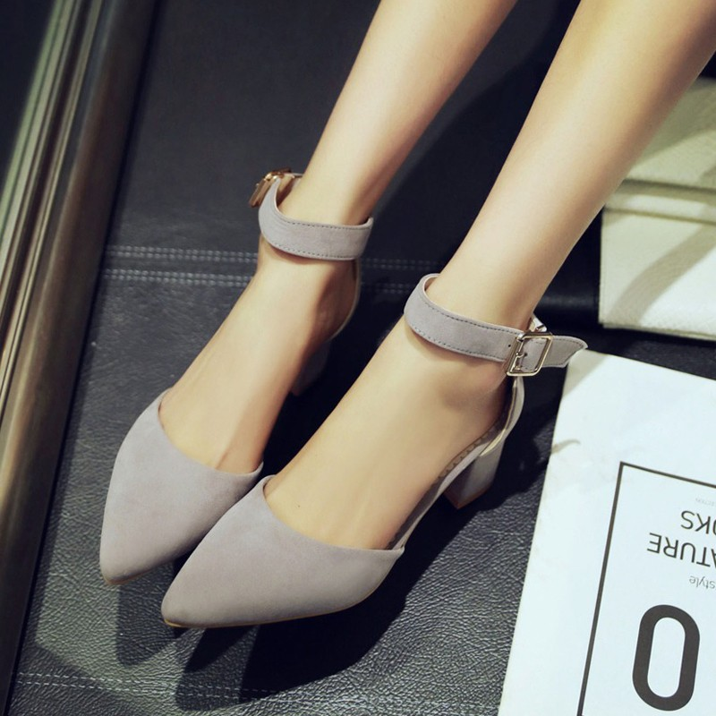 絨面尖頭一字扣包頭涼鞋腳腕綁帶粗跟中跟淺口女鞋黑灰粉桃紅可訂做大碼