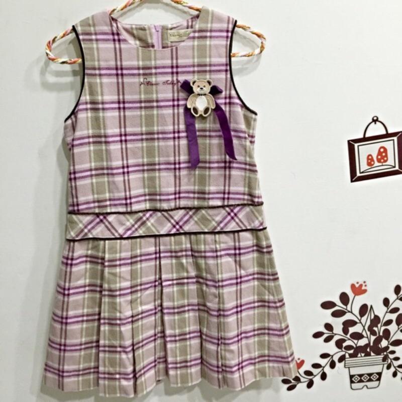 ~ ~紫色小熊格紋女童毛呢洋裝尺寸130