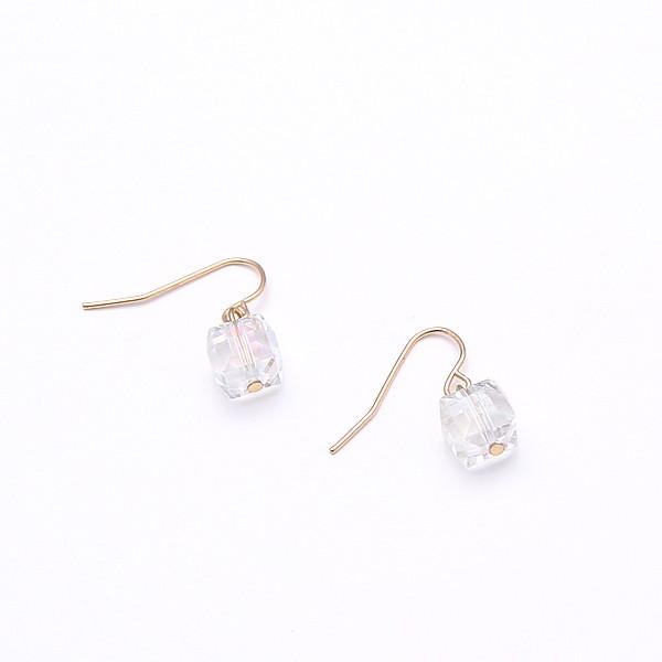 飾品韓國 原宿清新淡彩切面水晶玻璃方塊寶石耳環耳墜