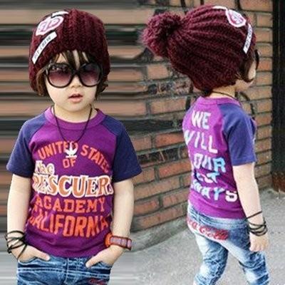 ღ瑪琪朵小舖ღ2016  男童潮版紫藍拼色字母超帥舒適短袖T 恤上衣 0207