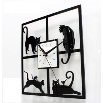 貓藝術時鐘掛鐘壁鐘 靜音時鐘  掛鐘貓 時鐘