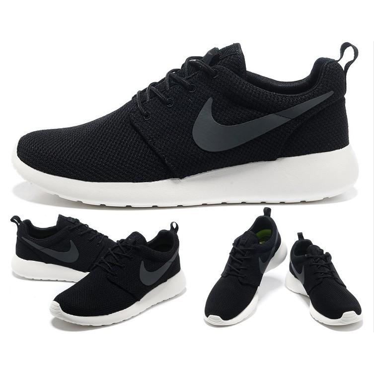 2016 NIKE Roshe run 超輕量 慢跑鞋 鞋編織鞋休閒鞋黑魂黑白黑底白勾情侶