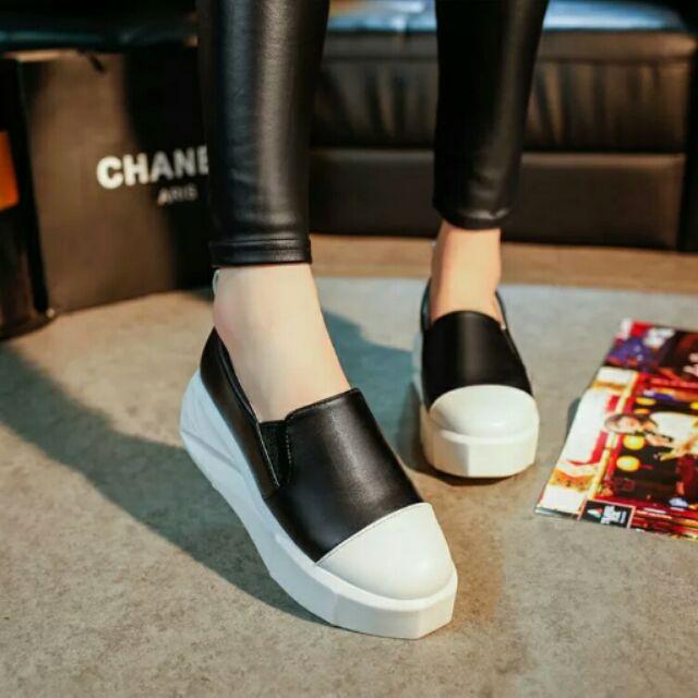 ( ) 學生套腳板鞋女春夏厚底鬆糕一腳蹬淺口休閒單鞋高跟小白鞋女