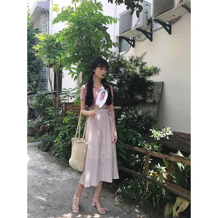 長款長裙交叉兩穿Tee 彩虹粉豎條紋半身裙顯瘦修身長裙女潮