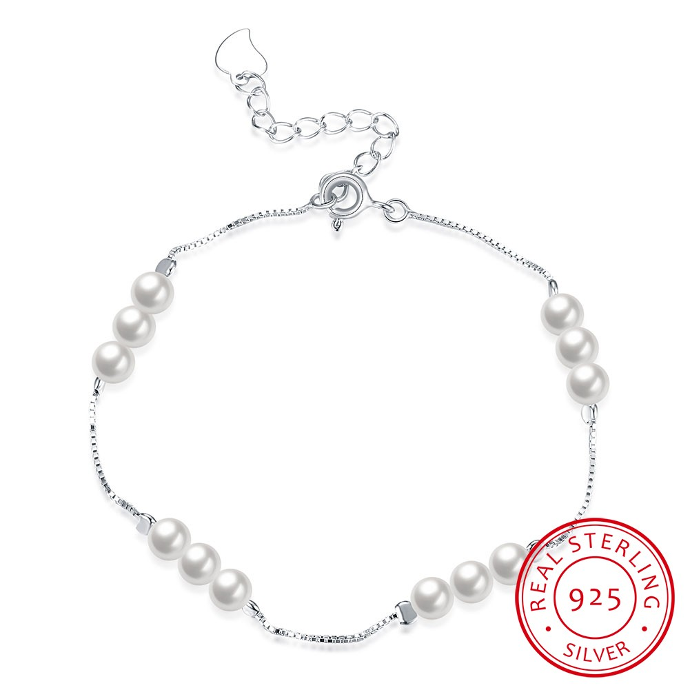 純銀系列2016 年爆款925 純銀 精緻小巧珍珠款手鍊