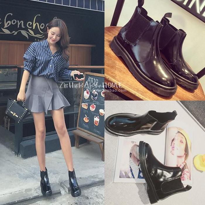 林珊珊同款原宿馬丁靴英倫風短靴女春秋單靴裸靴切爾西靴機車靴潮
