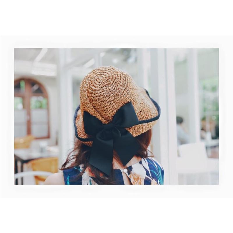 正韓貨韓國製NAVY 雙娜同款 CA4LA 類似款卡其色焦糖棕色夏日編織草帽皺褶藤編帽草編
